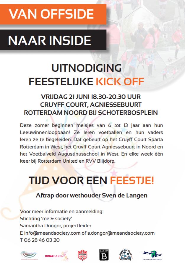 Uitnodiging feestelijke kick-off Van Offside Naar Inside