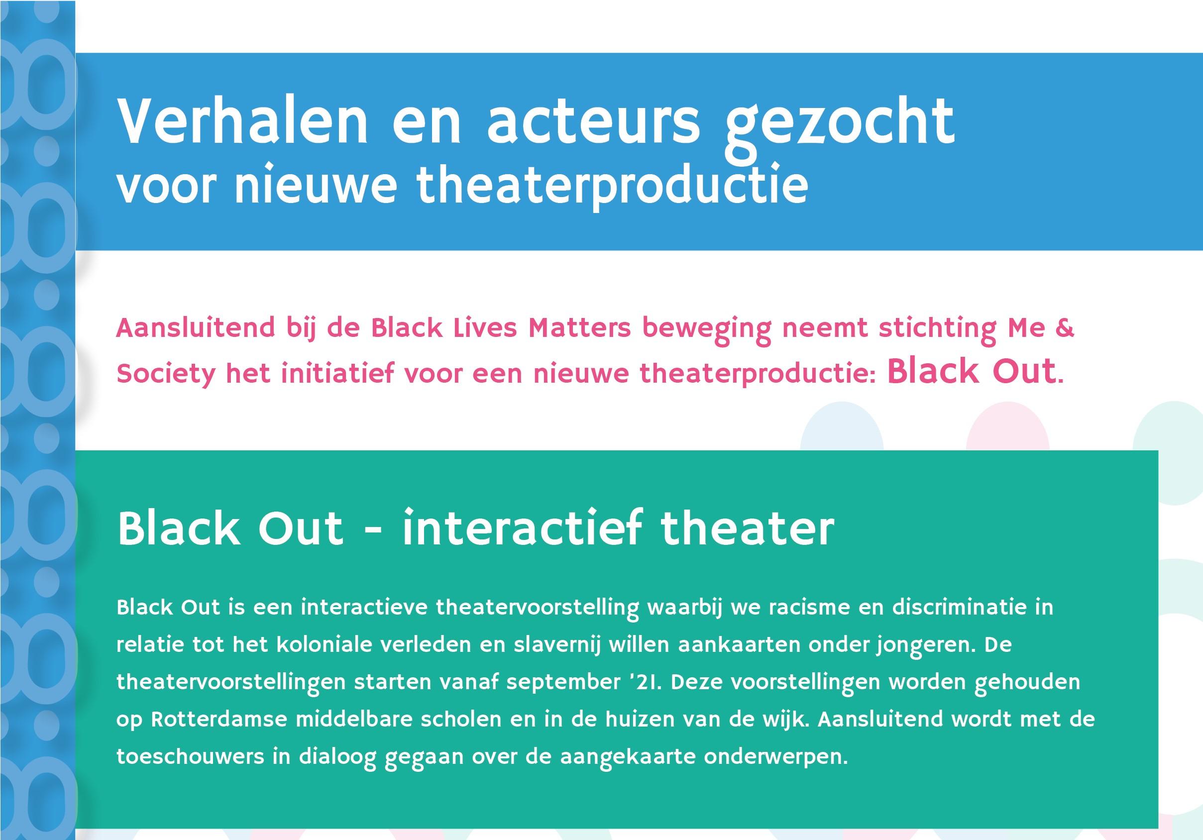 Verhalen en acteurs gezocht voor nieuwe theaterproductie